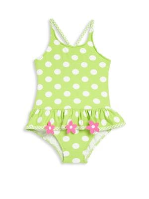 Toddlers  Little Girls Polka Dot OnePiece Swimsuit