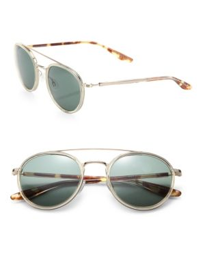 Round 52mm Acetate & Metal Sunglasses