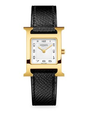 Heure H Goldtone Stainless Steel & Leather Strap Watch