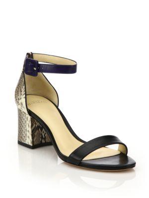 Judy Colorblock Leather & Python City Sandals