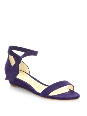 Clarita Suede Ankle-Tie Demi-Wedge Sandals