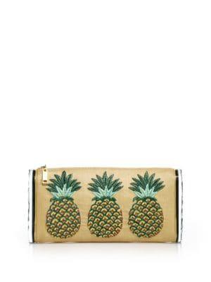 Lara Jumbo Raffia & Acrylic Pineapple Clutch