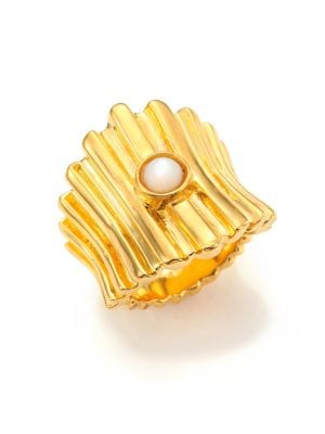 Ridged Mother-Of-Pearl Ring