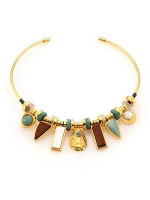 Azure Seas Turquoise, Light Green Aventurine, Mother-Of-Pearl & Wood Collar Necklace