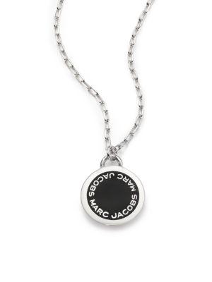 marc jacobs female 258136 enamel logo disc pendant necklace