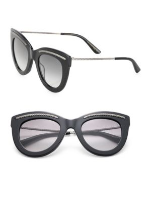 49MM Intrecciato-Trim Cat Eye Sunglasses