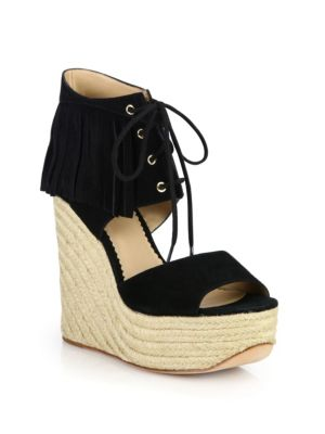 ash female 188971 belinda fringed suede espadrille wedge sandals