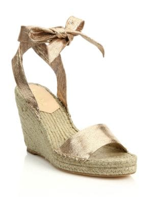 Harper Metallic Leather Espadrille Wedge Sandals