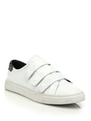 Becky Grip-Tape Strap Leather Sneakers