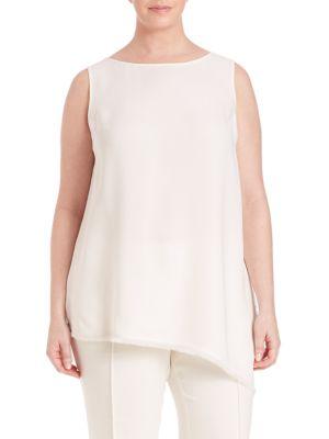 Conrad Silk Double Georgette Asymmetrical Blouse plus size,  plus size fashion plus size appare