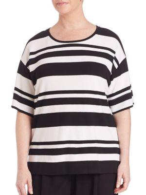 Regal Striped Ponte Easy Tee plus size,  plus size fashion plus size appare