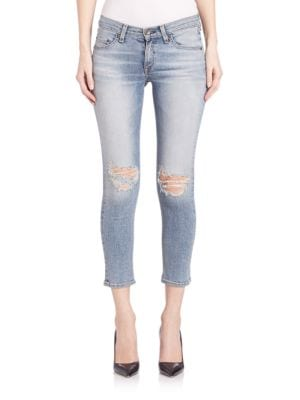 Mid-Rise Distressed Slim-Fit Cropped Jeans