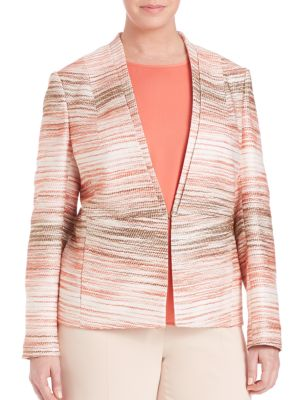 Textured-Print Blazer plus size,  plus size fashion plus size appare