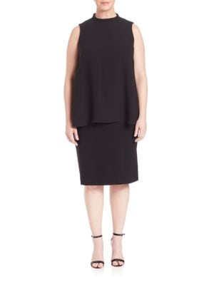 Leonore Silk Double Georgette Overlay Dress plus size,  plus size fashion plus size appare