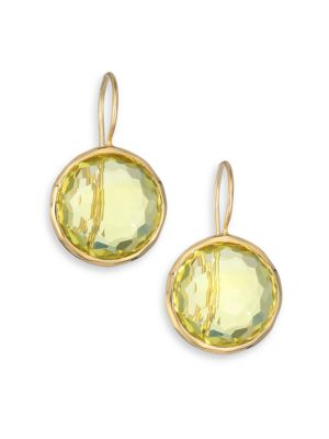 Lollipop Green-Gold Citrine & 18K Yellow Gold Drop Earrings
