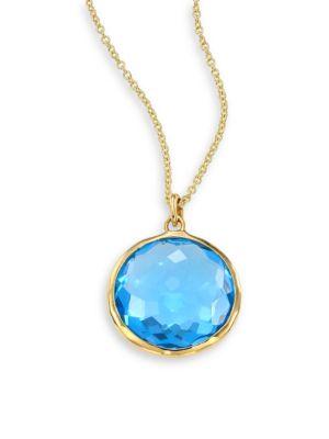 Lollipop Swiss Blue Topaz & 18K Yellow Gold Pendant Necklace