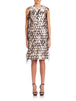 Ostrich Feather Embroidered Silk & Wool Shift Dress