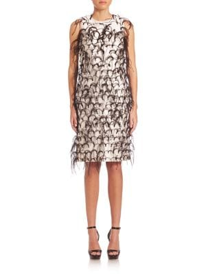 Buy Michael Kors Collection Ostrich Feather Embroidered Silk & Wool Shift Dress online with Australia wide shipping
