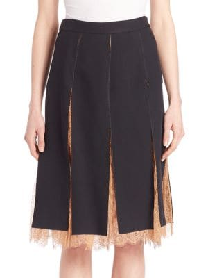 Paneled Lace-Inset Skirt by Michael Kors Collection