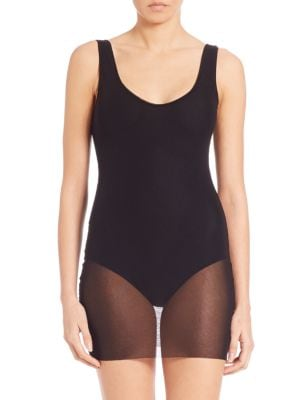 One-Piece Tulle-Overlay Swimsuit plus size,  plus size fashion plus size appare