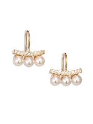 Brooke Three-Pearl Bar Earrings
