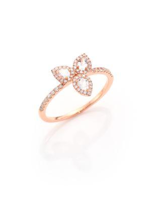 Diamond, White Topaz & 14K Rose Gold Ring