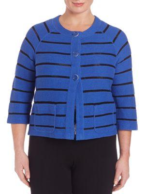 Striped Cropped Sweater plus size,  plus size fashion plus size appare