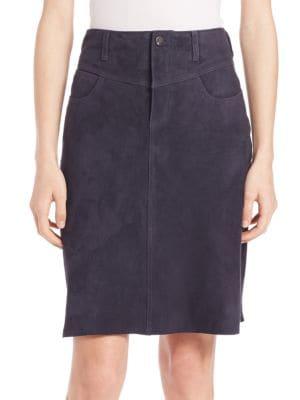 Four-Pocket Suede Skirt plus size,  plus size fashion plus size appare
