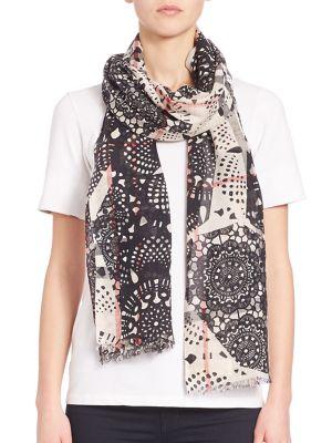 Lace Patchwork Wool & Silk Gauze Scarf