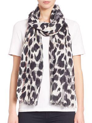Animal-Print Gauze Wool & Silk Scarf