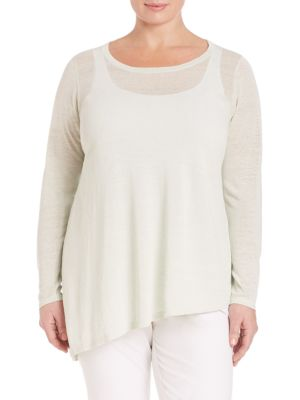 Celadon Crepe Knit Tunic plus size,  plus size fashion plus size appare