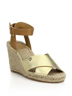 d3c076265652 Tory Burch Bima Metallic Leather Crisscross Espadrille Wedge Sandals ...