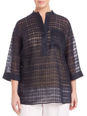 Billowy Checked Tunic plus size,  plus size fashion plus size appare