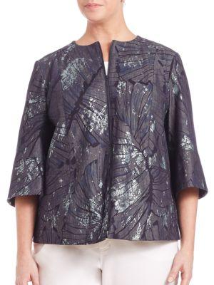 Athea Etched Palm Denim Jacket plus size,  plus size fashion plus size appare