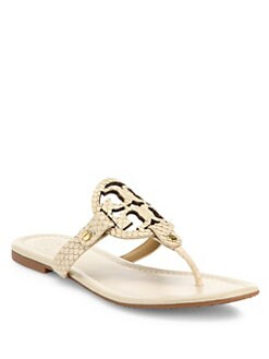 01fcdc295fc8 Tory Burch Miller Snake-Embossed Leather Thong Sandals
