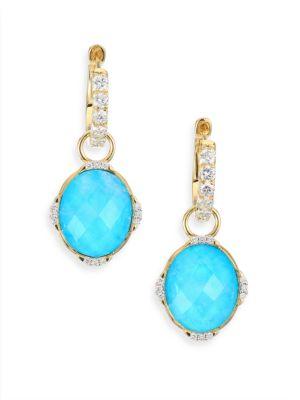 Diamond, Turquoise, Moonstone & 18K Yellow Gold Earring Charms