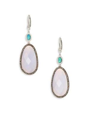 Diamond, Opal, Blue Opal, 14K White Gold & Silver Drop Earrings