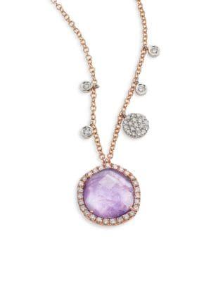 MEIRA T Diamond, Tanzanite, 18K Rose Gold & 18K White Gold Pendant Necklace