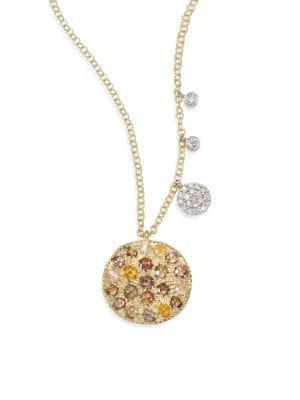 MEIRA T White Diamond, Rough Diamond, 14K Yellow Gold & 14K White Gold Pendant Necklace