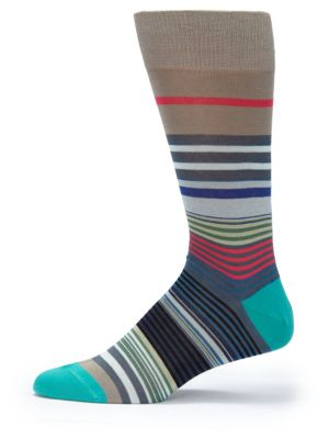 Cotton Blend Striped Socks