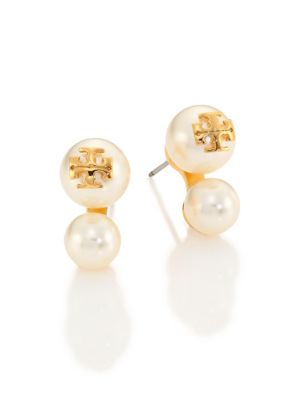 Crystal Pearl Double-Stud Earrings