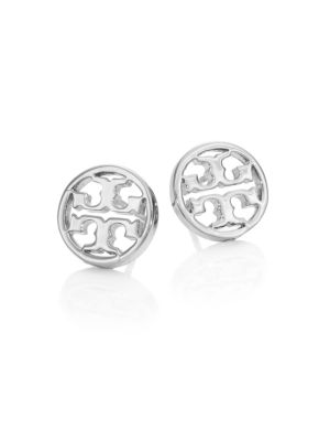 Logo Circle Stud Earrings/Silvertone