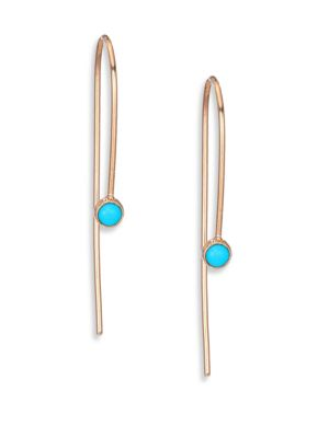 Turquoise & 14K Yellow Gold Threader Drop Earrings