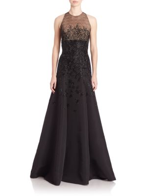Sleeveless Beaded Faille Gown