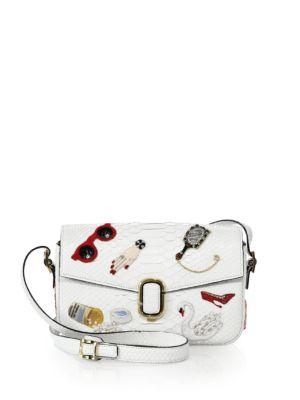 marc jacobs female 190772 embroidered python shoulder bag