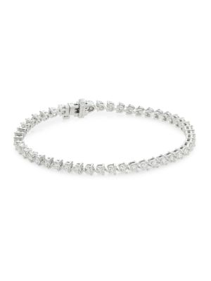 Select Temptation 18K White Gold & Diamond 3-Prong Tennis Bracelet