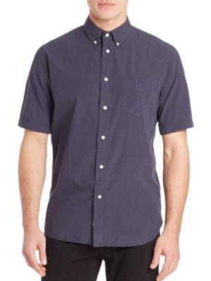 Woven Short Sleeve Button-Up