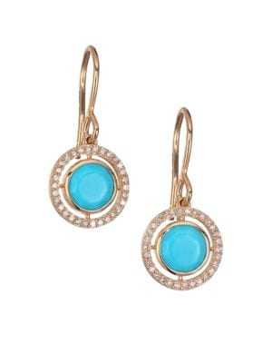 Biography Celestial Turquoise, Diamond & 14K Yellow GoldDrop Earrings