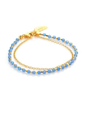 Biography Blue Agate & White Sapphire Feather Bracelet