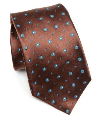 Circle Patterned Silk Tie